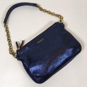 Fossil Metallic Blue Leather Handbag OS
